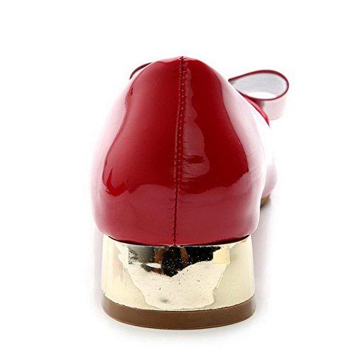 AalarDom Damen Niedriger Absatz Lackleder Weiches Material Ziehen Auf Pumps Schuhe Rot-Schleife