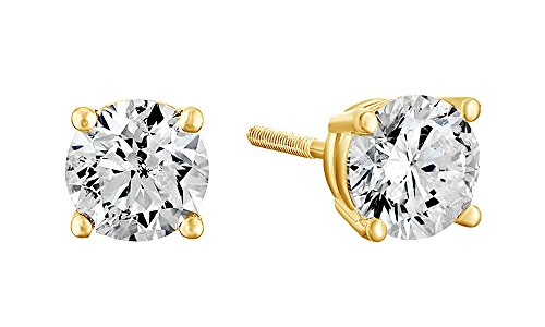 0.75 Ct Yellow Diamond (10K Solid Yellow Gold Natural Diamond Solitaire Stud Earrings With Screw Back (0.75 Ct))