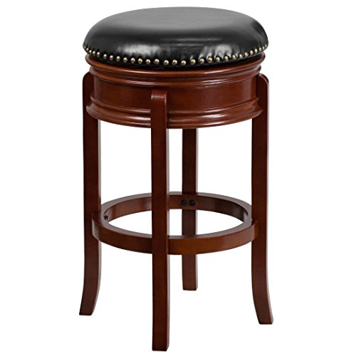 (My Friendly Office MFO 29'' Backless Light Cherry Wood Barstool with Black Leather Swivel Seat)
