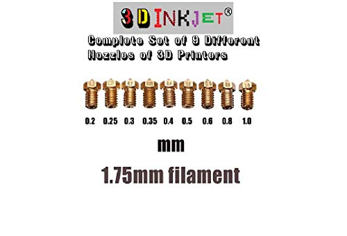 3 D INKJET 0.2 mm to 1 mm Extruder Nozzle For 3D Printer, Compatible With E3D V6 And E3D V5 J-Head Hotend And M6 Threaded Extruder (Set Of 9 Different Nozzle)