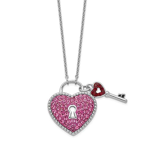 (925 Sterling Silver Crystal Pink Heart Key Chain Necklace Pendant Charm S/love Fine Jewelry Gifts For Women For Her)