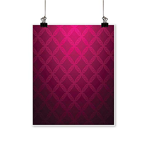 - Modern Painting Victorian Damask Motif with Diamond Shaped Square Lines Middle Age Inspired Art Rosewood Bedroom Office Wall Art Home,24