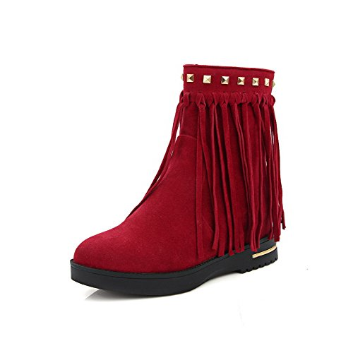 AmoonyFashion Womens Solid Imitated Suede High-Heels Zipper Round Closed Toe Boots Red 8YdNqh7