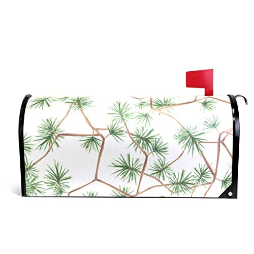 Mailboxcoverfhiw Home Garden Pine Twig Pattern Magnetic Mailbox Cover Standard Size 6.5