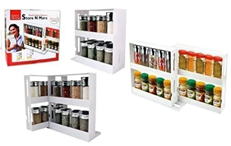 Swivel Store Spice Bottles Kitchen Shelf Tidy Holder Tray Cabinet Organizer