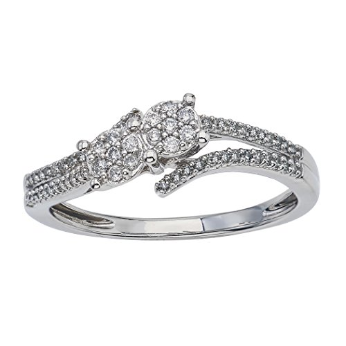 Diamond Two-stone Promise Ring in Sterling Silver (0.20cts, IJ I2-I3) (20 Carat Diamond Ring)