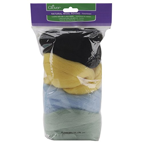Clover Natural Wool (Clover Wool Roving Assortment E Minit, Light Yellow, Light Blue and Black)