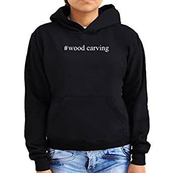 #Wood Carving Hashtag Women Hoodie