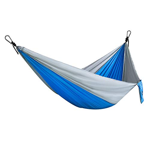 Ouneed Camping Hammock, Portable Nylon 2-Person Double Hammock with 2 x Hanging Straps, Parachute Lightweight Hammocks Rope Hanging Swing for Camping, Hiking, Backpack Tiravel (Blue & Grey)
