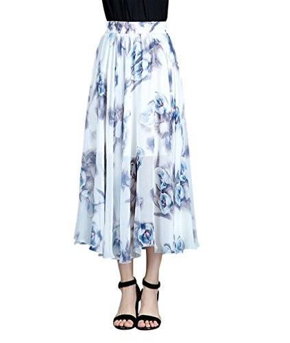 CHENYANG Jupe Longue Femme Bohme Fluide lastique Plisse en imprim Floral t en Boho Dress Casual Plage Style7