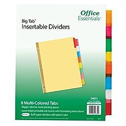 Office Essentials Big Tab Insert 8T Multicolor Tab, Buff, 6 Pack (24832)