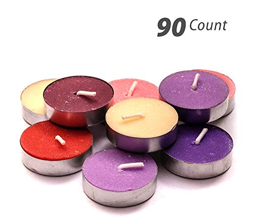 Exquizite Variety Collection - Highly Scented Luxury Tealight Candles - 90 pcs - Set of 15 Tealights with 6 Fragrances - Lavender, French Vanilla, Rose, Apple Cinnamon, Lilac and Black Cherry ()