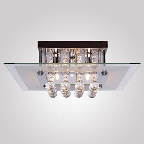 Gracelove--[US Stock]--Comtemporary Crystal Drop Flush Mount Lights with 5 Lights in Square Design, Modern Home Ceiling Light Fixture Flush Mount, Pendant Light Chandeliers Lighting