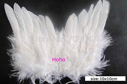Maslin 10Pcs/lot!12X16CM White Angle Wings from Natural Feathers, Newborn Angel Photo Prop, Small Angel Wings for Newborn Photography