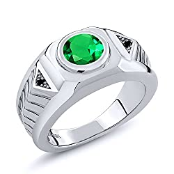 1.68 Ct Round Green Simulated Emerald Black Diamond 925 Silver Men's Ring
