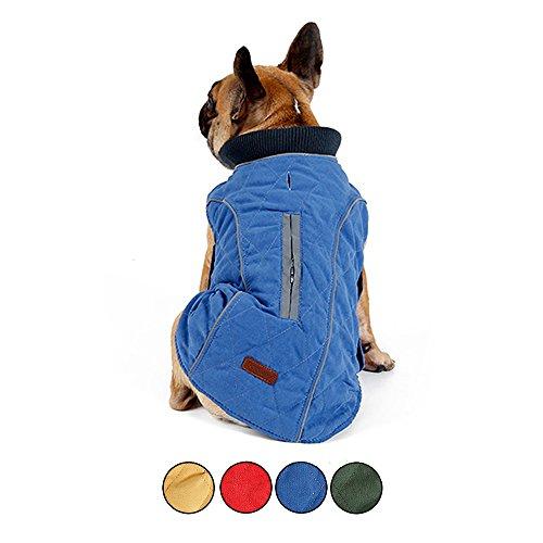 HongYH Dog Coat Cozy Windproof British Style Plaid Dog Jacket Warm Dog Vest Dressing with Reflective Belt Vest Pet Winter Coat