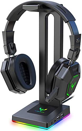 Blade Hawks RGB Gaming Headphone Stand with 3.5mm AUX and a pair of USB Ports, Durable Headset Stand Holder for Bose, Beats, Sony, Sennheiser, Jabra, JBL, AKG, Fancy Gaming Accessories - HS18 (Only for PC)