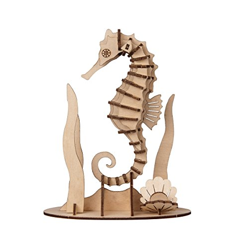 Torch 3D Wood Puzzle Wooden DIY Children Gift Collection (Sea Horse)