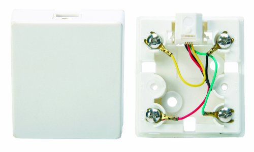 Leviton C2452-W Surface Mount Phone Jack, 4 Conductor, White