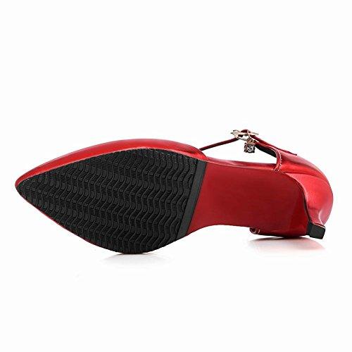 YE Damen Kitten Heels Spitze Ankle Strap Pumps mit Riemchem Glitzer Elegant Schuhe Rot