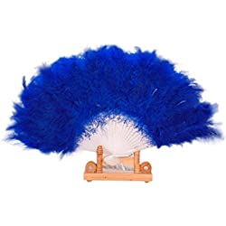 Binmer(TM) Wedding Show girl Dance Elegant Large Feather Folding Hand Fan Decor Decal (Blue)
