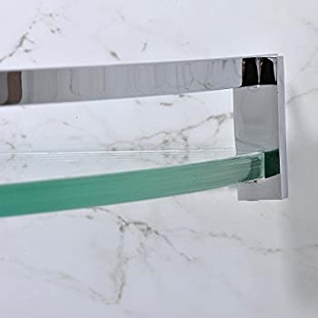 Leyden Chrome Finish Stainless Steel Material Bathroom Corner Glass Shelves Lavatory Home Decor Wall Mount