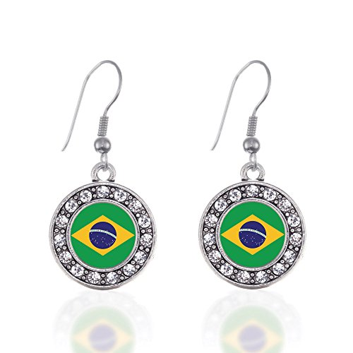 Inspired Silver - Brazilian Flag Charm Earrings for Women - Silver Circle Charm French Hook Drop Earrings with Cubic Zirconia Jewelry