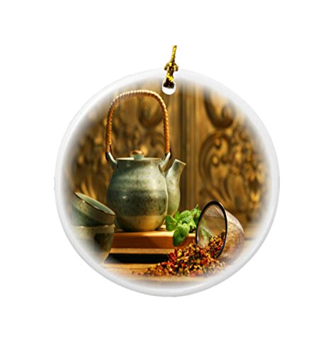 erb Tea Kettle Scene Design Round Porcelain Two-Sided Christmas Ornaments ()