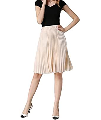Hotgirldress Junior Girls Dancing Skirt Knee Length Chiffon Pleated A-line Womens Midi Skirts (One Size, Beige)