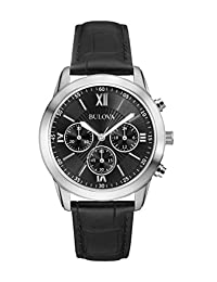 Bulova 96A173 Men's Leather Watch with Chronograph and Black Dial
