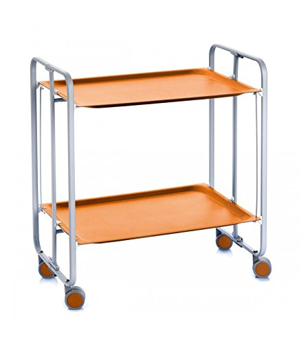 Wadiga Mesa Plegable con Ruedas (Naranja y chasis Gris Aluminio ...