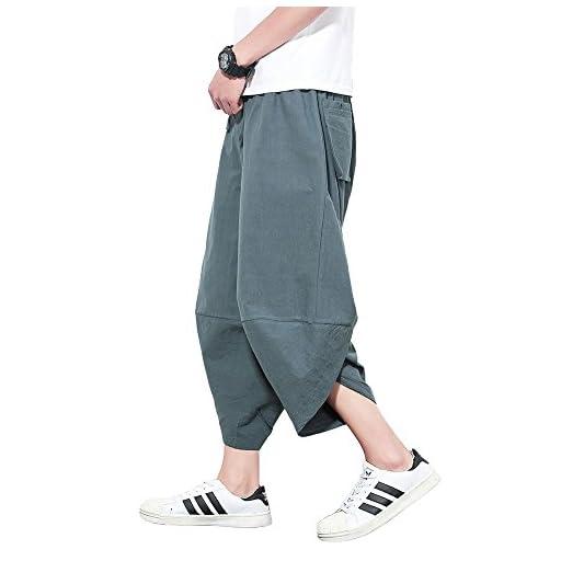 J-MOOSE サルエルパンツ メンズ ズボン カジュアル ポケット 綿麻 ファション 7分丈 ヒップホップ系 男女兼用