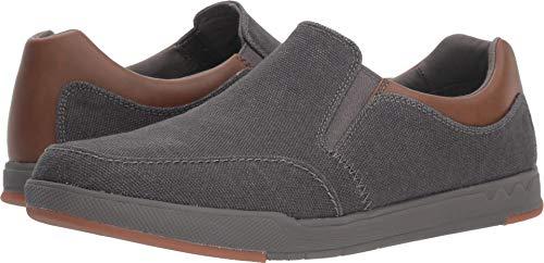 Clarks Men's Step Isle Slip Shoe, dark grey canvas, 115 M US