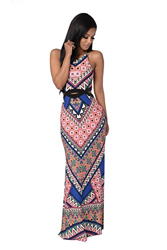 Moxeay Women Sleeveless Bohemia Totem Print Side Slit Beach Long Maxi Dress (L, Pink) (Dress Cut Side Out Sexy)