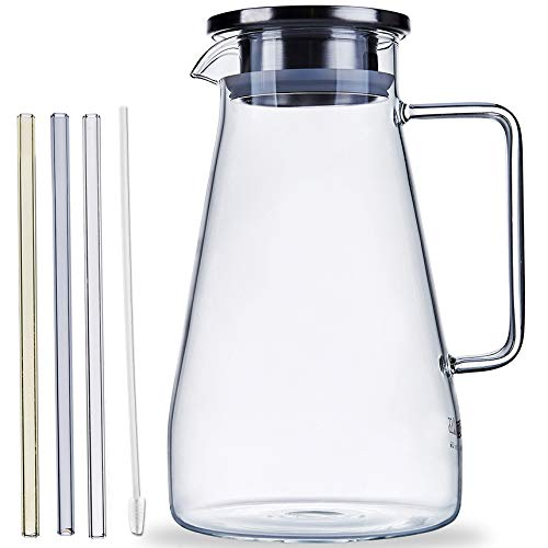 Glass Pitcher With Lid And Spout 61.5 Ounces For Chilled Beverage Homemade Juice, Iced Tea Or Hot/Cold Water, Includes Set Of 3 Glass Straws Reusable ()