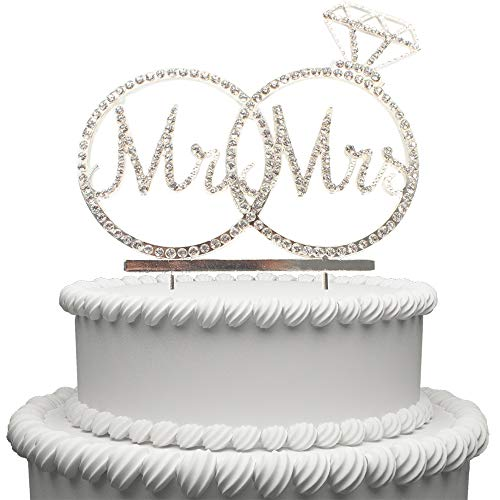 Price comparison product image Hatcher lee Mr & Mrs Cake Topper for Wedding Anniversary Rings Crystal Rhinestone Party Decoration (Silver)