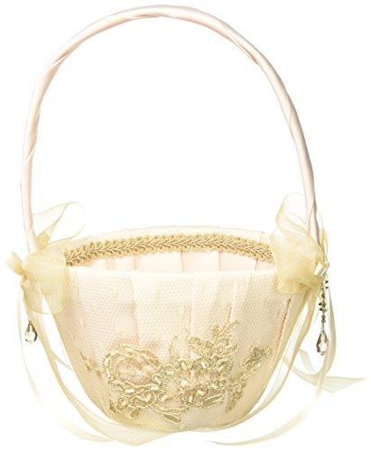 Bella Donna Wedding Accessories Flower Girl Basket, Champagne ()