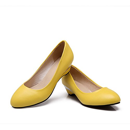 Odomolor Women's PU Pull-On Round-Toe Low-Heels Solid Pumps-Shoes, Yellow, 43