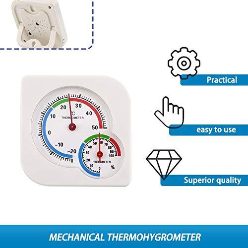 Uso dom/éstico cl/ásico Interior al aire libre 2 en 1 Mini higr/ómetro h/úmedo preciso Term/ómetro de humedad Medidor de temperatura Mec/ánico Blanco