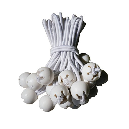 50PCS,6″ WHITE-Ball Bungees Cord Tarp Party Tent Tie Downs Bungee Canopy Gazebo Straps