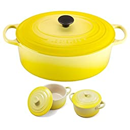 Le Creuset Signature Soleil Yellow Enameled Cast Iron 9.5 Quart Oval French Oven with 2 Free Stoneware Cocottes