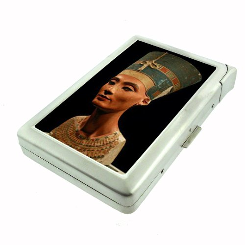 Queen Nefertiti Egyptian Double-Sided Cigarette Case with lighter, ID Holder, and Wallet (Egyptian Cigarettes)
