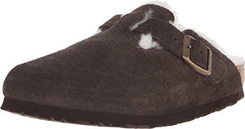 (Birkenstock Boston Shearling Lined Mocha Suede Unisex Clogs Size 36N Brown)