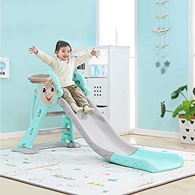 HAPPYMATY 3 in 1 Sports Climber and Slide with Basketball Hoop Sturdy Toddler Slipping Slide Climber for Kids Toddler Easy Climb Stairs and Play Toss Ring Games: Toys & Games