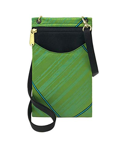Danny K Women's Tapestry Crossbody Cell Phone or Passport Purse, Handmade in USA (Electric/Lime)