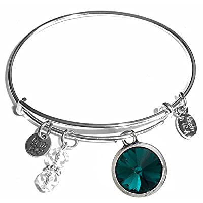 new Birthstone Expandable Wire Bangle Bracelet, in the popular style, COMES IN A GIFT BOX!