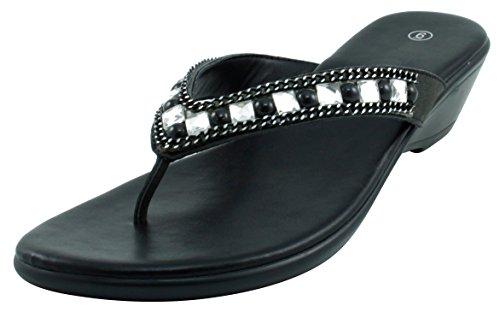 Cambridge Select Women's Studded Crystal Rhinestone Bead Chain Thong Flip-Flop Mid Wedge Sandal (9 B(M) US, - Wedge Black Thong