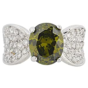 Giro Woman's Alloy Green Stone Ring - G0089-18 mm