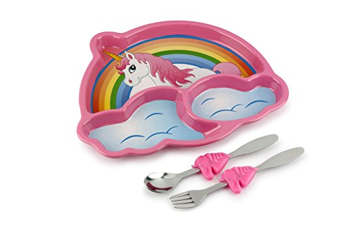 Bowls Plastic Baby Pink (KidsFunwares Me Time Meal Set (Unicorn) – 3-Piece Set for Kids and Toddlers – Plate, Fork and Spoon that Children Love - Sparks your Child's Imagination and Teaches Portion Control - Dishwasher Safe)