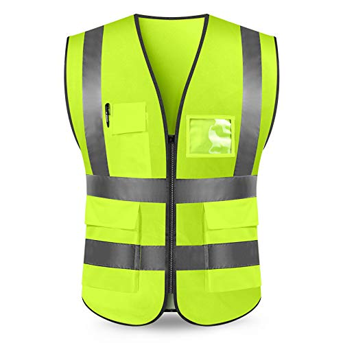 Price comparison product image High Visibility Zipper Front Reflective Safety Vest, Bright Neon Color Construction Protector with Reflective Strips with Five Pockets (L / M)